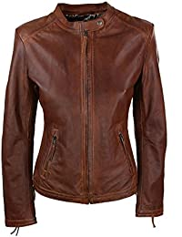Infinity Ladies Womens Real Leather Vintage Slim Fit Biker Timber Leather Jacket