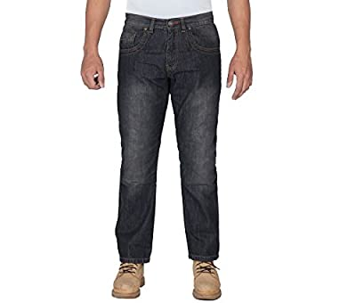 OneDayMore Straight Fit Aramid Reinforced Motorcycle Jeans, Stretch, Straight Fit , Black, Free Protectors.