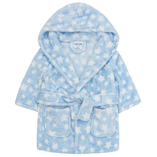 BabyTown BABYTOWN Bademantel Bademantel mit Kaputze weiches Plüsch Fleece rosa oder blau - Blauer Stern mit Kaputze, 6-12 Monate