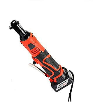 Peedeu Cordless Ratchet Wrench,3//8 Electric Ratchet Wrench Kit 3//8-Inch Air Ratchet Tool Set Variable Speed Trigger with 12V Lithium-Ion Battery Led Working Light,Red//Black