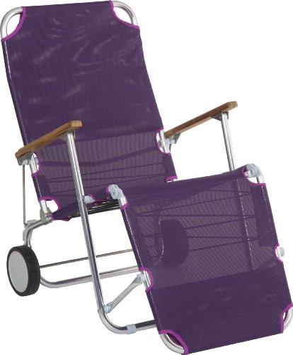 Stern 440712 Beach Carry, Gestell Aluminium mit Teakarmlehnen, Bezug Textilen aubergine