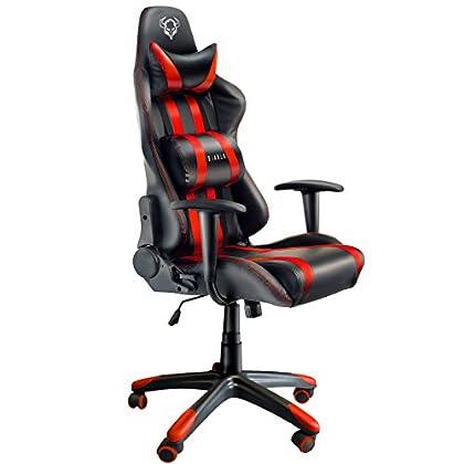 Diablo X-One Gaming Silla de Oficina Mecanismo de inclinación cojin Lumbar y Almohada Cuero sintético selección de Color (Negro/Rojo)