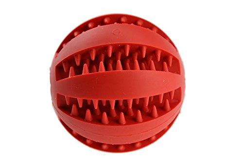 Hundespielzeug Ball aus Naturkautschuk mit Dental-Zahnpflege-Funktion | mit Noppen und Loch für Leckerli, ø 7cm, für große und kleine Hunde - 6