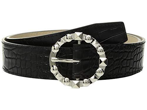 Steve Madden Women's Croco w/Stud Buckle Black XL -
