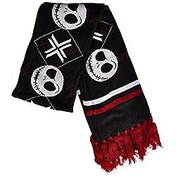 Nastrovje Pesadilla antes de Navidad, bufanda Jack Skellington, calaveras con flecos 158x21 cm, Elvenwald negro rojo
