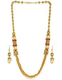 Zaveri Pearls Royal Style Gold Plated Long Beaded Necklace Set For Women - ZPFK5420