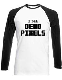 HippoWarehouse I See Dead Pixels Camiseta Unisex de béisbol de Manga Larga en Dos Tonos