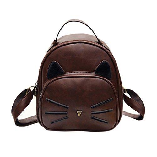 Damen Frauen Mädchen Katze Blumen Vintage PU Leder Tasche Handtaschen Rucksäcke