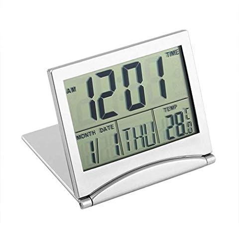 Bababy Écran LCD numérique Thermomètre Calendrier Horloge Réveil pliable Éclairage
