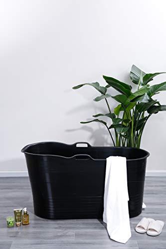 Schwänlein® Mobile Badewanne für Erwachsene XL, Ideal für das kleines Badezimmer, 123 * 51 * 63cm, Stylisch und Stimmungsvoll (Schwarz)