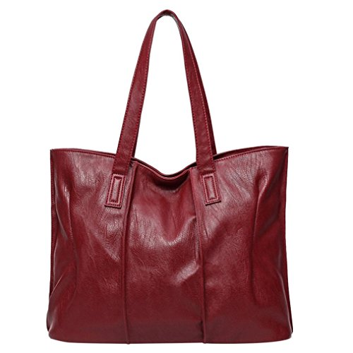 Koly_Tote Bag Lady Fashion borsetta a tracolla in pelle (Rosso)