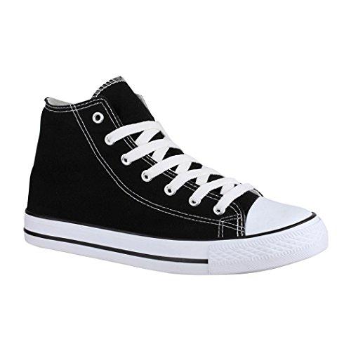 Elara Unisex Kult Sneaker | Bequeme Sportschuhe für Damen und Herren | High Top Textil Schuhe|Chunkyrayan  41 EU Schwarz Basic (Männer High-top Schuhe)