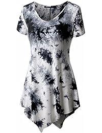 Oyedens Damen Kurz Ärmel Tiefe O-Ausschnitt Irregulär Mini Hemdkleid Tops  Bluse 312da5ccd0