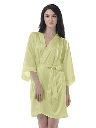 Remedios Damen Morgenmantel Bademantel Kurz Kimono Robe Dessous Babydoll Nachtwäsche Chartreuse