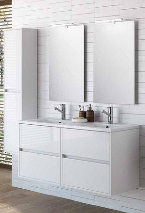 Conjunto de mueble de baño (120cm). Noja 1200con espejo armario y foco led- varios finitions diponibles