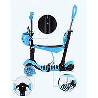 Patinete/moto 5en 1con ruedas intermitentes para bebés y niños, azul