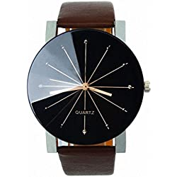 OverDose Men Convex Quartz Dial Clock Leather Wrist Watch Round Case
