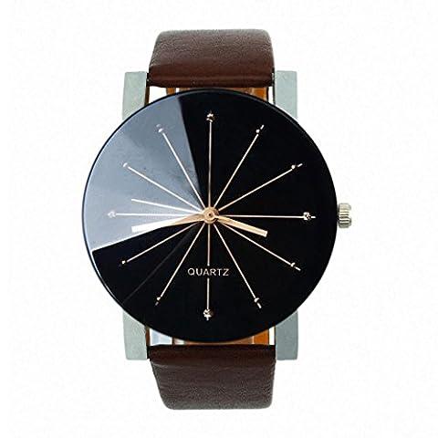 OverDose Men Convex Quartz Dial Clock Leather Wrist Watch Round Case
