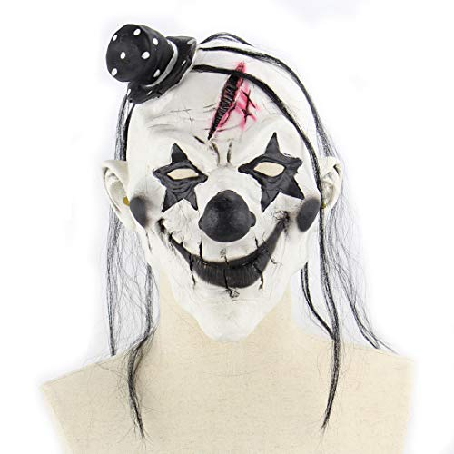 DUBAOBAO Dämonen Clown Maske Latex Horror Beängstigend Lustige Maske Halloween-Raum Escape Requisiten, Halloween-Masken, Halloween-Körperteile Requisiten (Raum Halloween Kostüme)