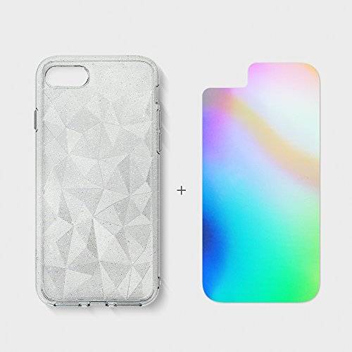 Apple iPhone 7 / iPhone 8 Hülle Ringke [Air Prism Glitter Combo Pack][KOSTENLOSER limitierter Holographischer Deko Film] Funkeln 3D Design, texturiert schützend TPU Fall geschützt - Funkeln Kristallkl Funkeln Grau