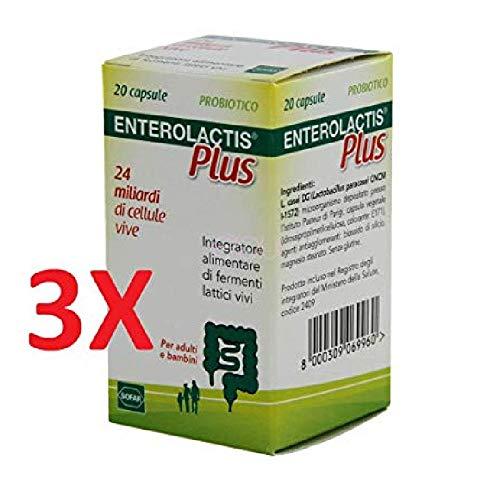 3x enterolactis plus 20 capsule - integratore fermenti lattici vivi - 60 cps