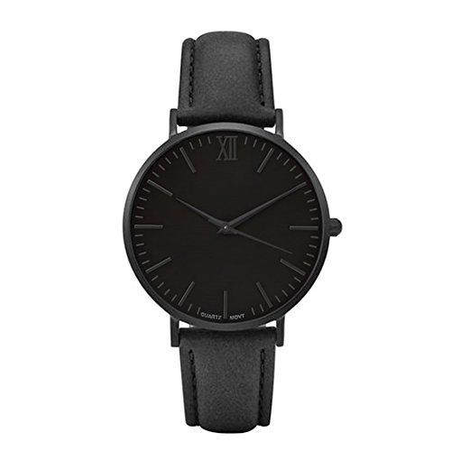 Souarts Herren Armbanduhr Einfach Stil Casual Analoge Quarz Uhr Schwarz