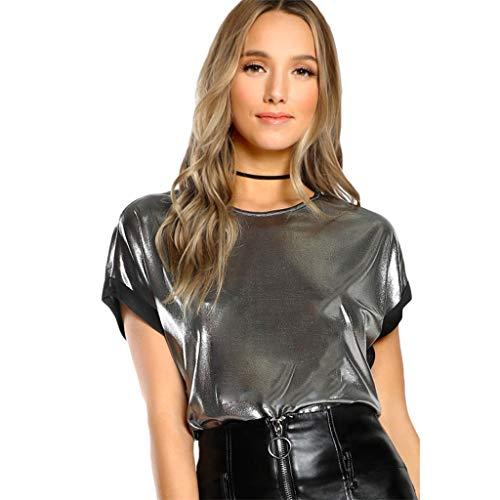 NNVNN Mode Frauen Patchwork Persönlichkeit Silber Kurzarm Oansatz T-Shirt 2019