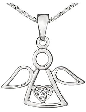 CLEVER SCHMUCK-SET Silberner Anhänger Engel 13 x 19 mm schlicht offen in der Mitte mit Herz und 3 weißen Zirkonias...