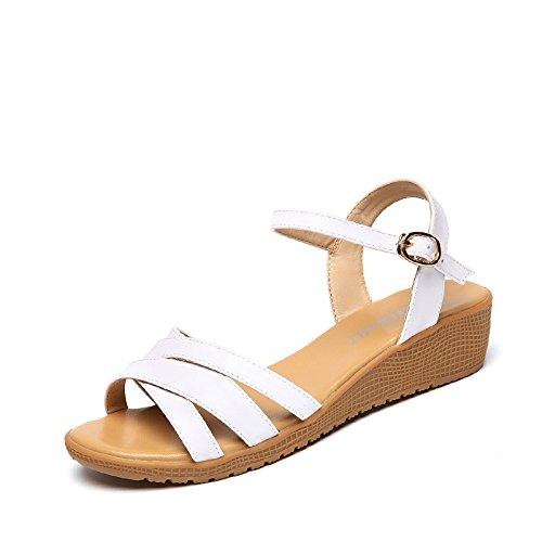 XY&GKSommer Dick unten verfolgte die Sandalen Frauen Ferse und unten Studenten Drucken Toe Sandalen, komfortabel und schön 35 white