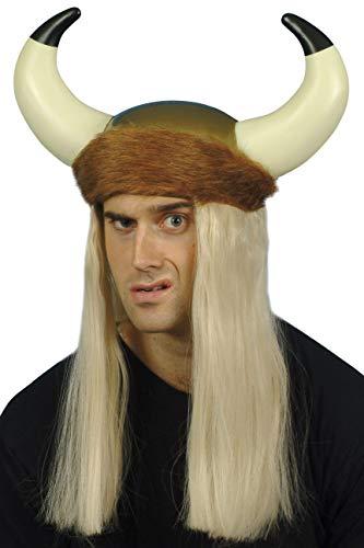 Wikingerhelm mit Hörnern langen blonden Haaren und Fell-Verzierung, One Size Fell, Horn