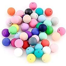 RUBY-Lote 100 pcs Bola Silicona colores mixtos para DIY Mordedores chuetero collar lactancia,