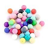 RUBY- 100 Stück Beißring Silikon Perlen 15mm für Schnullerkette Clips Zahnen Halskette
