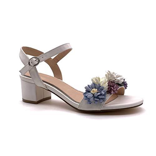 Angkorly - Damen Schuhe Sandalen - romantisch - Vintage/Retro - Plateauschuhe - Blumen Blockabsatz high Heel 5 cm - Weiß MK576 T 40 -