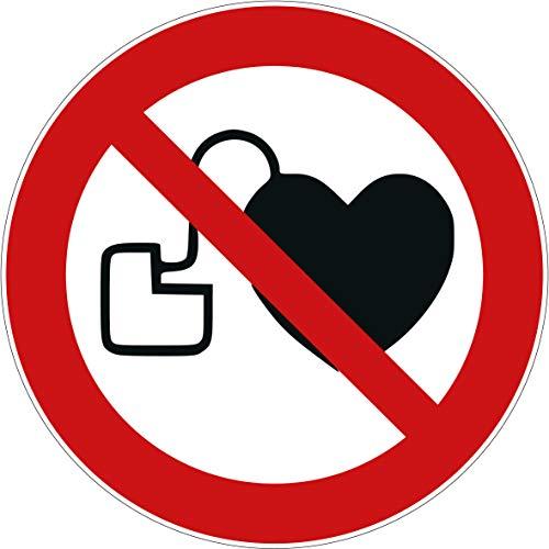10 Aufkleber Kein Zutritt für Personen mit Herzschrittmachern oder implantierten Defibrillatoren Aufkleber 95mm Schild überkleben Verbotszeichen Aufkleber Herzschrittmacher verboten P007