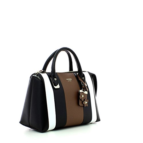 Guess handbag liya satchel black multi Noir
