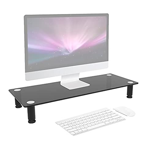 Duronic DM052-2 Black Glass Stand Riser for PC Computer Monitor / Laptop and TV