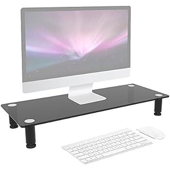 duronic dm052 2 r hausseur d 39 cran moniteur support en verre pour cran d 39 ordinateur ou. Black Bedroom Furniture Sets. Home Design Ideas