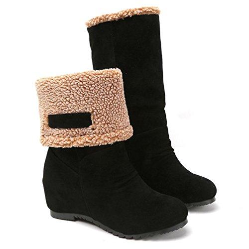 Damen Schuhe Dasongff Damen Schneestiefel Gefüttert Winterstiefel Stiefeletten Boots Damen Schuhe Stiefel Fashion Shoes Round Schuhe (EU:34, Schwarz) (Cap-schuh-charme)
