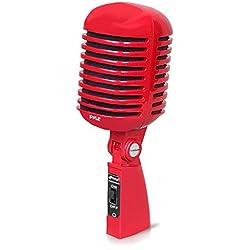 Pyle PDMICR42R Classic Retro Estilo Vintage micrófono Vocal dinámico con 16ft XLR Cable (rojo)