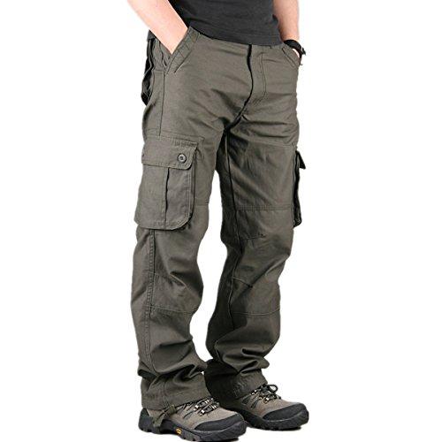 CRAVOG Männer Cargohose Beiläufige Hose Freizeithose lange Cargo Pant Multi Pocket Military Insgesamt Männer Im Freien Hohe Qualität Lange Hosen Gr. 30-40 Plus größe (36, Armee Grün)