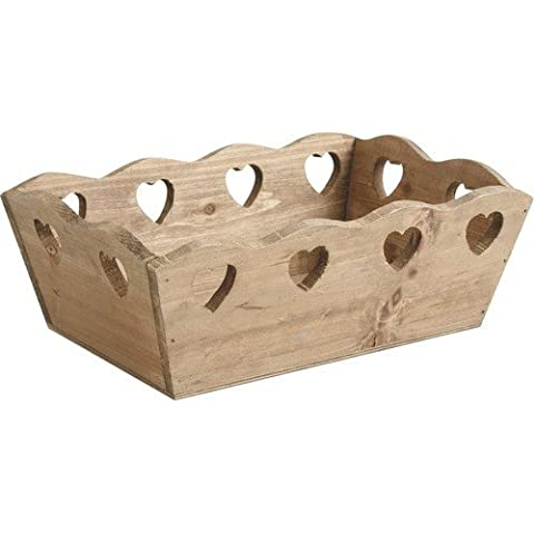 Elegancia del vintage de madera caja de almacenamiento Corazones Cesta de jardinería decorativa de la boda del