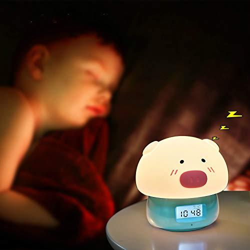 TekHome Despertador Infantil Niño, Reloj Despertador Digital, Wake Up Light Sobremesa con Luz Natural, 7 Colores, 11 Sonidos, Función de Snooze, Muestra Tiempo Fecha Temperatura, Control Remoto.