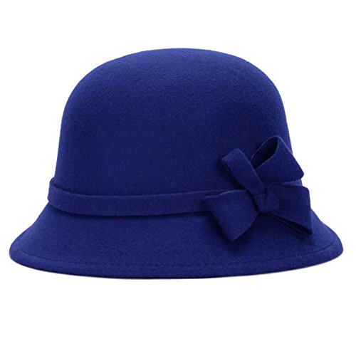 Leisial™ Elegant Warm Halten Damen Fischerhüte Herbst und Winter Dame Hut Bogendekoration Fischerhüte Blau 58CM