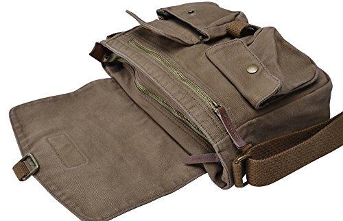 Gootium Borse messenger Borsa a Tracolla Vintage in Tela Retrò, Verde Militare Verde Militare