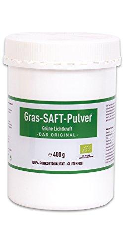 Grüne Lichtkraft - reines SAFT Pulver aus Gerstengras und Urweizengras 33/1 Bio Detox Powerfood (Urweizen, gras saft, gras säfte, kammutgras, kamutgrassaft, Gersten Grassaft) (400g) -