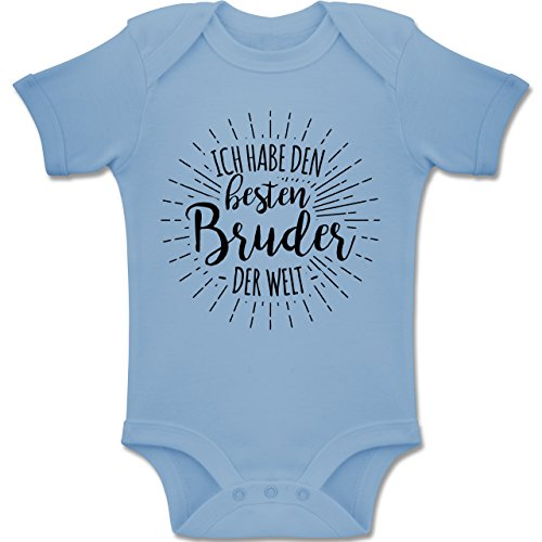 Sprüche Baby - Ich Habe den besten Bruder der Welt - 6-12 Monate - Babyblau - BZ10 - Baby Body Kurzarm Jungen Mädchen