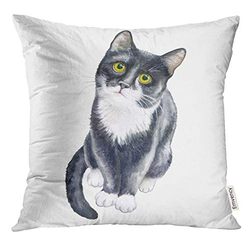 Ntpclsuits Throw Pillow Cover Pet Cute Black Cat White Watercolor Stock Realistic Kitten Portrait Decorative Pillow Case Home Decor Square 18x18 Inches Pillowcase
