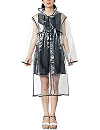 Zicac Womens Girls Transparent Clear Raincoat Waterproof Lightweight Rain Jacket Reuseable Showerproof Hooded Outwear Travel Portable Packaway Rainwear