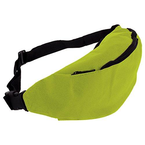 Smartfox Damen und Herren Gürteltasche Bauchtasche Hüfttasche mit zwei Fächern und Reißverschluss in grün