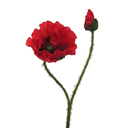 Kunstblume MOHN mit Blüte und Knospe. Mohnblume ca 48 cm. In ROT-01